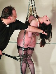 Bondage suspension and tits abuse