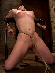 Local girl next door bound up tight & helpless, flogged, nipple clamped, made to suck cock, & cum!