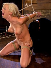 Hot blond with amazing body, has nipples tied and weighted, gagged & made to cum like a common slut!