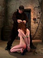 Sexy Irish girl is severely bound, made to suck cock and cumHer puffy nipples clamped and abused